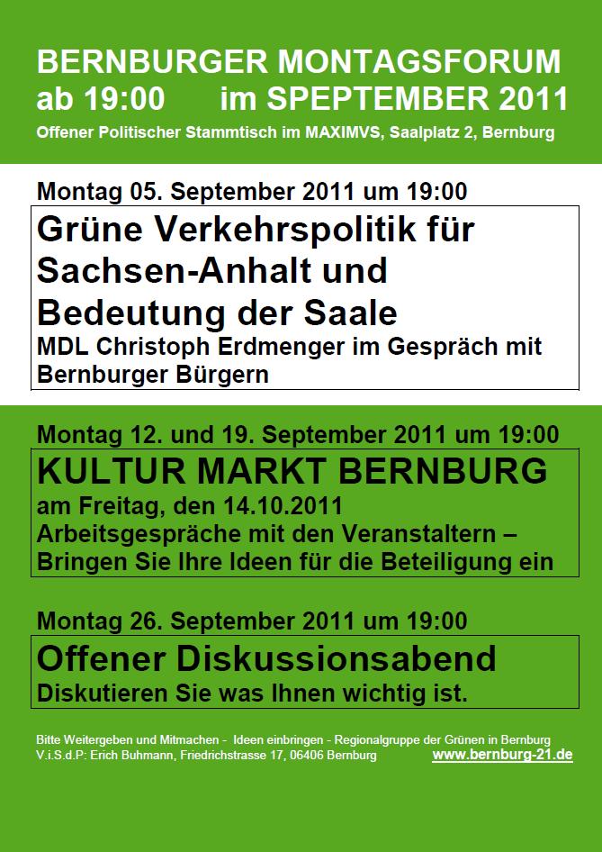 Montagsforum Bernburg im September